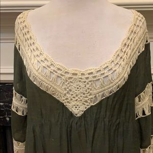 Dreamers Tops - Beautiful olive & cream crocheted with fringe top